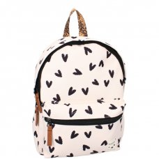 Kidzroom backpack lucky me black and white hearts