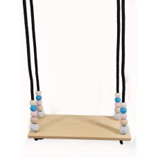 Hess wooden plank swing with pastel beads