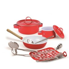 Simply For Kids Pan Set in a Red Coffeemaker