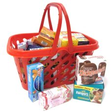 Tanner Red shopping basket with filling
