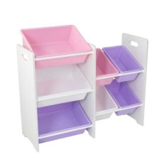 Kidkraft cupboard with 7 storage bins Pastel and White