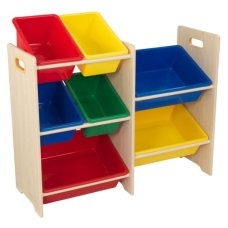 Kidkraft cabinet with 7 storage boxes primary colors