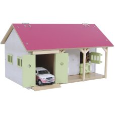Kids Globe horse stable with 2 boxes and storage pink