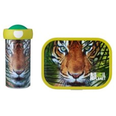 School Cup and Lunch Box Animal Planet Tiger Green