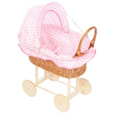 Playwood Doll Reed Reed Fabric Hood with Pink Checkers