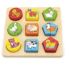 Viga Toys Shapes Puzzle Farm animals